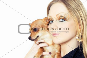 beauty with her chihuahua