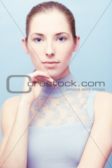 young serene woman