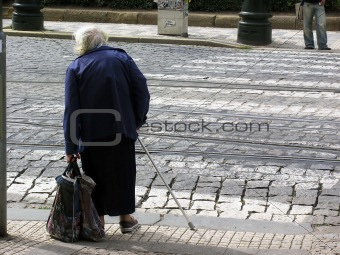 Old Woman Crossing road