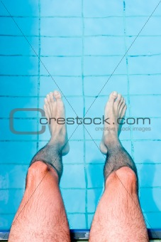 Male Legs in Pool