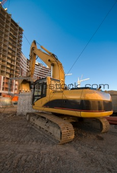 excavator at the construction place