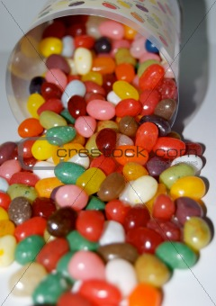 Close Up Of Jelly Beans In A Can