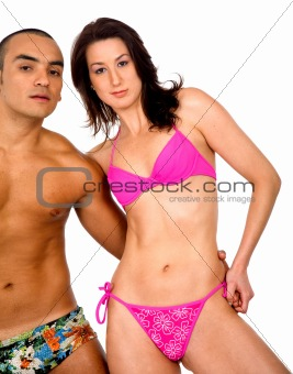 casual couple in swimwear