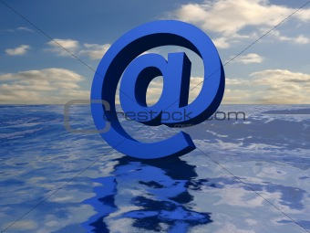 3d ocean and at sign