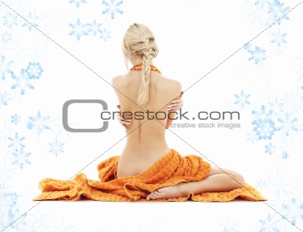 beautiful lady with orange towels and snowflakes #2