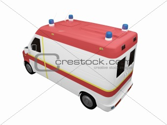 AmbulanceEU isolated back view 01