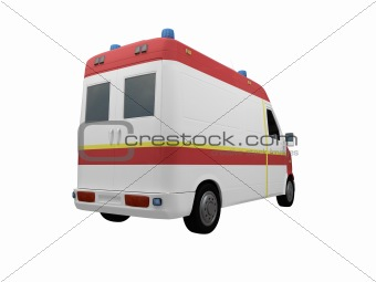AmbulanceEU isolated back view 02