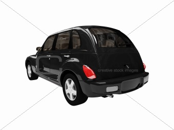 american isolated black car back view 01