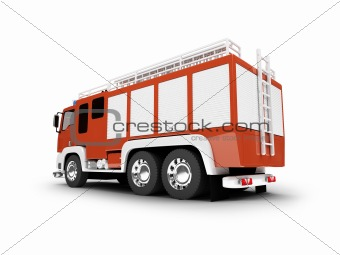 Firetruck isolated back view