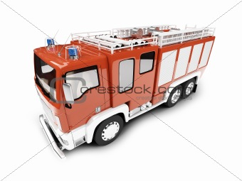 Firetruck isolated front view