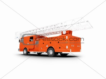 Firetruck long isolated back view