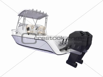 Fish Boat isolated back view