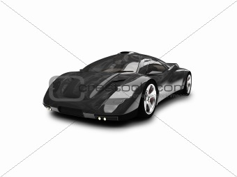 isolated black super car front view 01