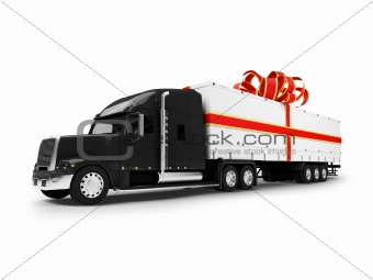 Present truck isolated black-red front view