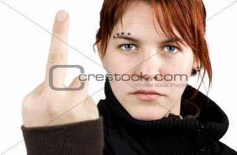 Angry girl showing middle finger