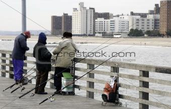 Fishing off Coney Island pier