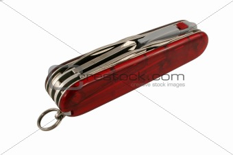 Closed red swiss army knife