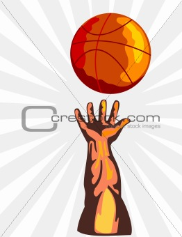 Basketball player's hand reaching for ball