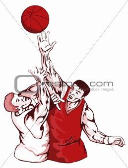 Basketball players rebounding for the ball