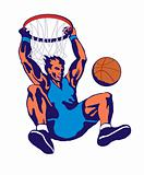 Basketball player lay up