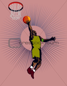 Basketball player laying up