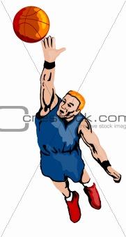 Basketball player rebounding