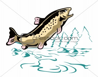 Leaping Trout with bacgkround