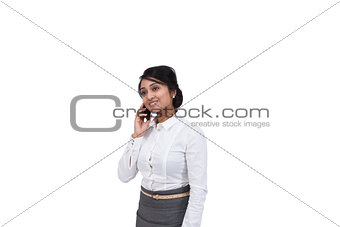 Asian businesswoman talking on cell phone