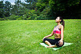 Young fit woman practices yoga in the park to meditate and relax