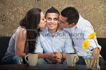 Son Kissed By Parents