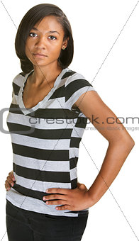 Calm Teenager in Striped Shirt