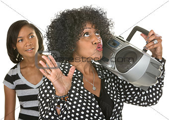 Singing Woman with Radio and Teen