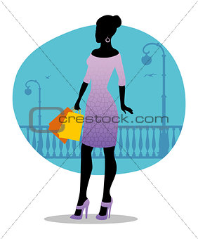 Beautiful fashion woman with bags