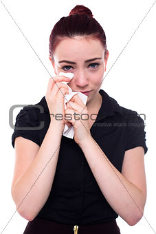 Crying woman with red hair