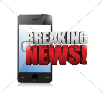 breaking news sign on a smartphone. illustration