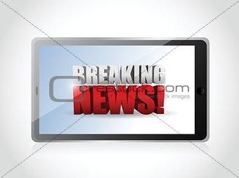 breaking news sign on a tablet. illustration
