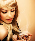Girl hold coffee beans