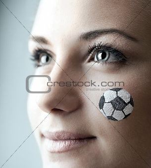 Closeup portrait of a happy football fan