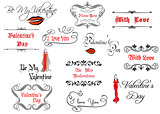 Calligraphic elements and headlines for Valentine's Day
