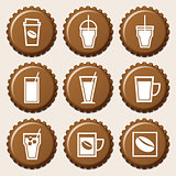 Set of coffee cup icon on bottle caps