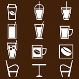 Coffee drinks icons in coffee shop