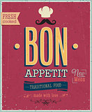 Vintage Bon Appetit Poster. Vector illustration.