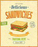 Vintage Sandwiches Poster.
