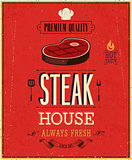 Vintage Steak House Poster. Vector illustration.