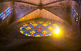 Sunshine through the stained-glass window of the Cathedral in Pa