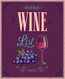 Vintage Wine List Poster. Vector illustration.