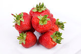 Strawberry fruits on white background
