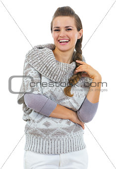 Portrait of smiling young woman in sweater