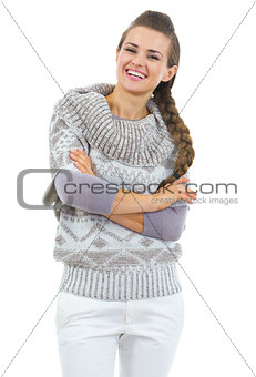 Portrait of happy young woman in sweater