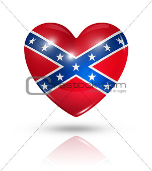 Love confederate, heart flag icon